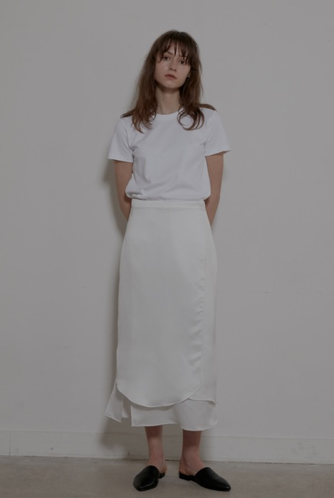 WAVE SILKY WRAP SKIRT -  WHITE