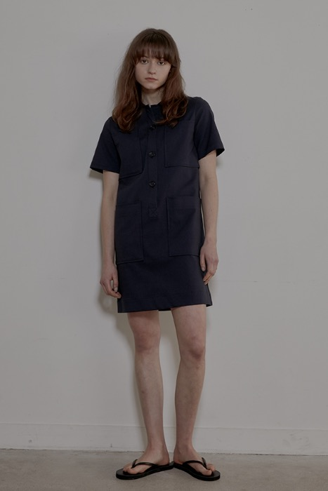 4POCKETS SHIRT DRESS - NAVY