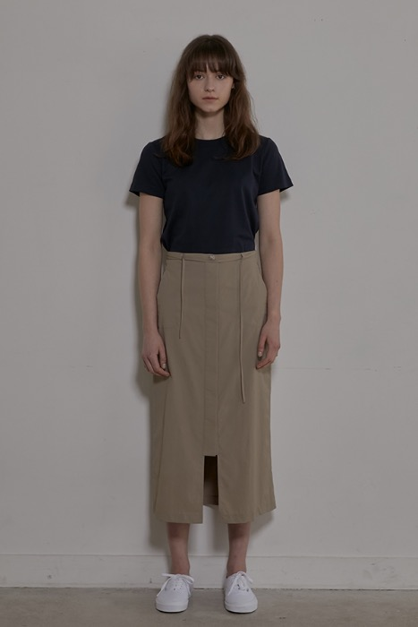 STRING BUTTON-UP SKIRT - BEIGE