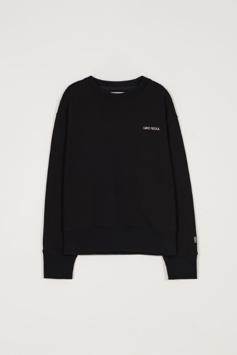 GRID SEOUL SIGNATURE LOGO SWEAT-SHIRT - BLACK
