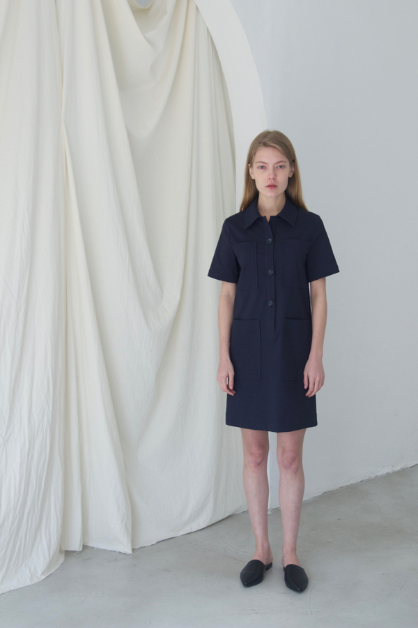 [예약배송] 4POCKET SHIRT ONE-PIECE - NAVY