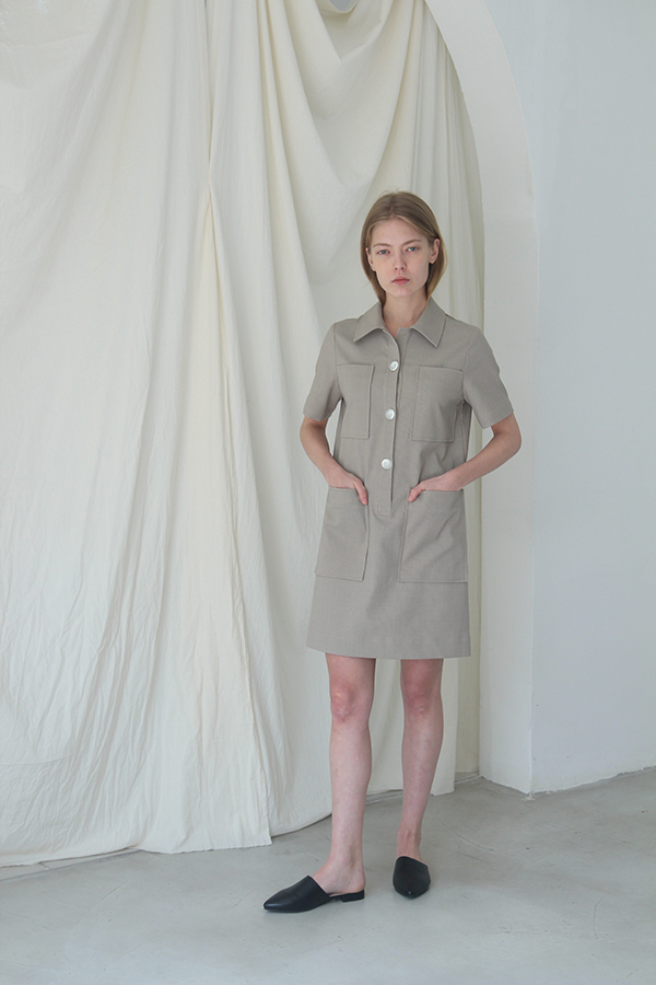 [예약배송] 4POCKET SHIRT ONE-PIECE - BEIGE