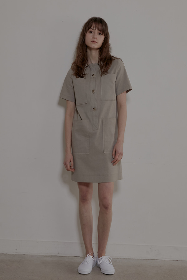 4POCKETS SHIRT DRESS - BEIGE