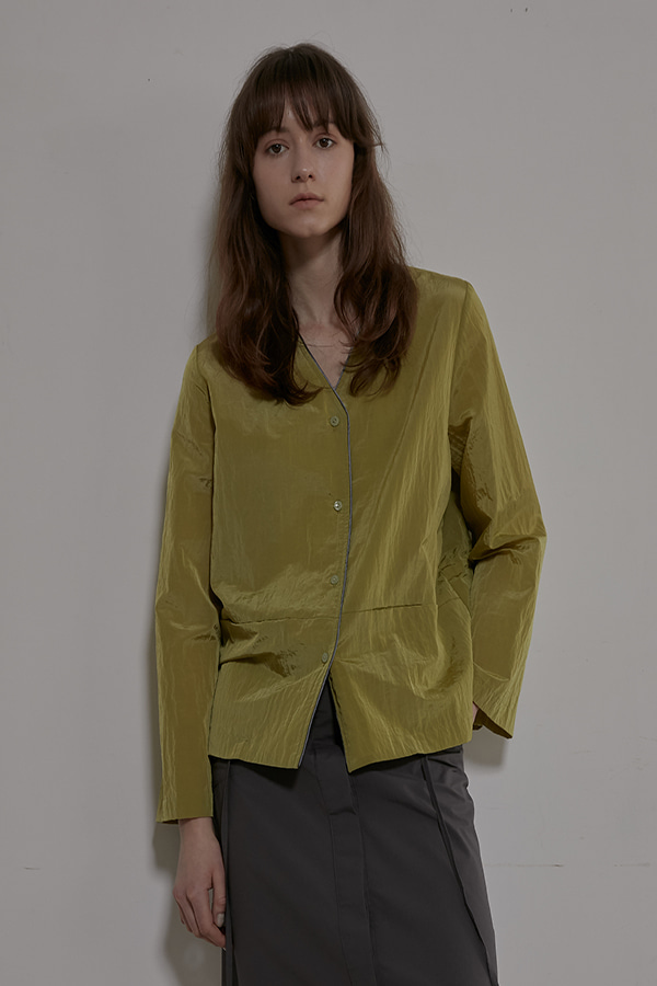 BACK STRING SHIRT JACKET - OLIVE