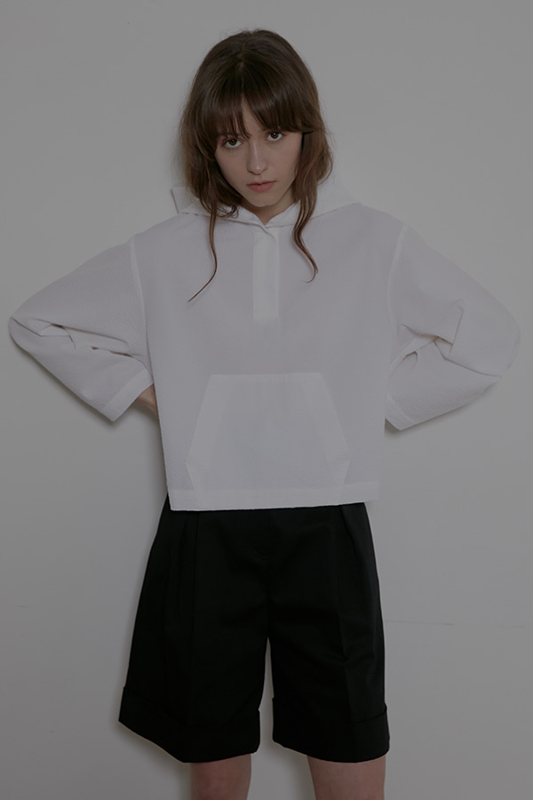 HOODY CROP SHIRT - WHITE