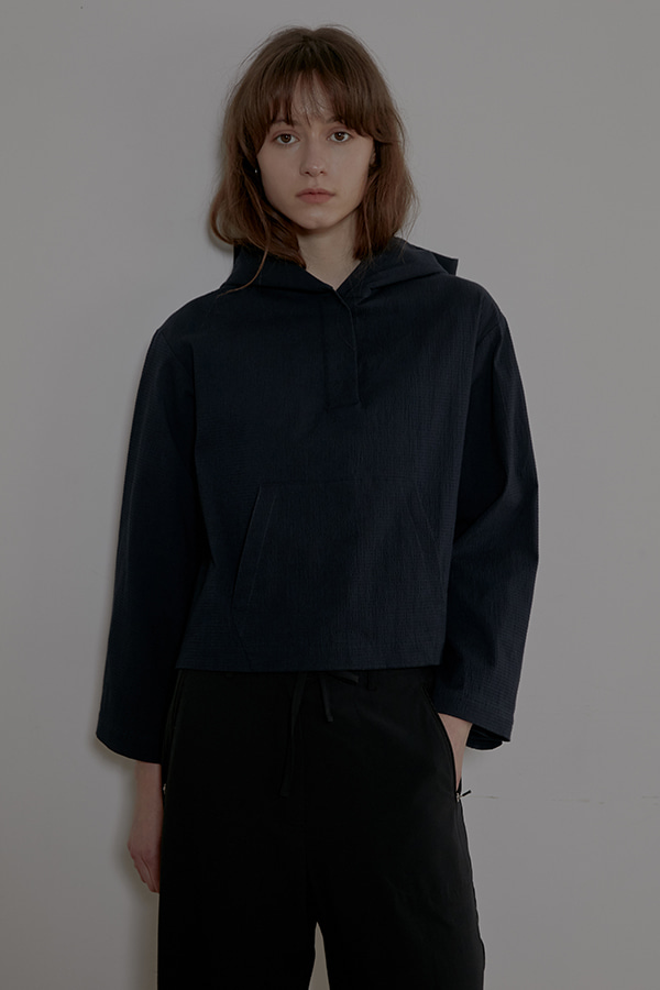 HOODY CROP SHIRT - NAVY