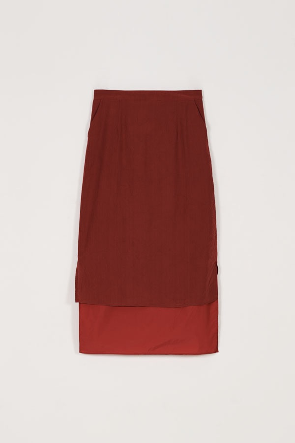 LAYERED SHEER SKIRT - RED