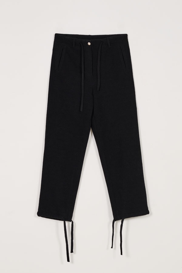 DRAW-STRING KNIT TROUSER - BLACK