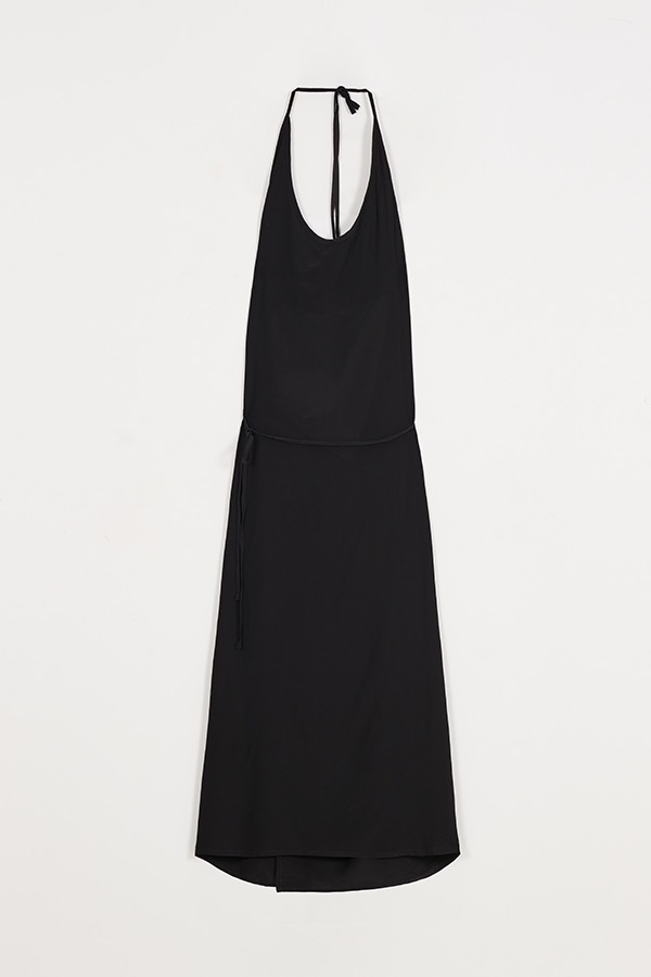 2WAY APRON SHEER DRESS - BLACK