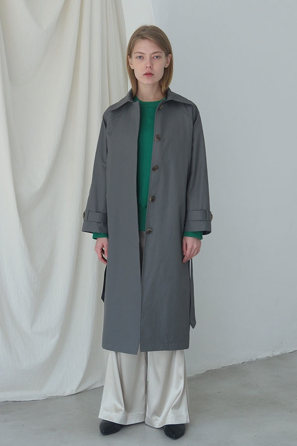 [예약배송] SINGLE BELTED TRENCH COAT - GRAY